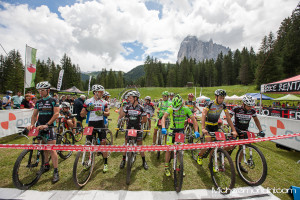 Starting Grid XCO Monte Pana - Fabian Rabensteiner, Andrea Righettini e Beltain Schmid. Ph: Michele Mondini